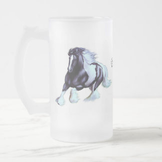 Sinti und Roma Vanner, irisches Pferd Mattglas Bierglas