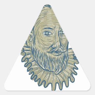 Sir Walter Raleigh Bust Drawing Dreieckiger Aufkleber