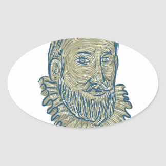 Sir Walter Raleigh Bust Drawing Ovaler Aufkleber