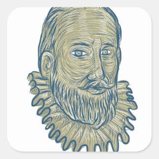 Sir Walter Raleigh Bust Drawing Quadratischer Aufkleber
