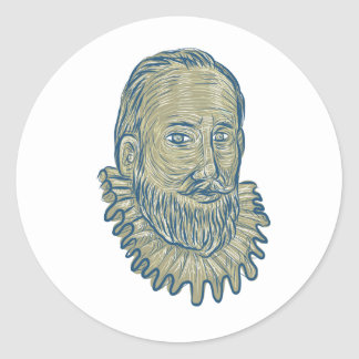 Sir Walter Raleigh Bust Drawing Runder Aufkleber
