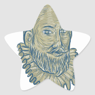 Sir Walter Raleigh Bust Drawing Stern-Aufkleber