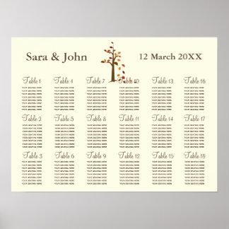 Sitzplatz-Diagramm Hochzeit des Fallbaums Plakat
