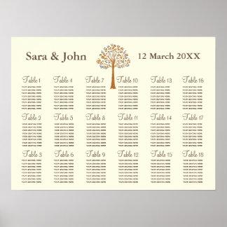 Sitzplatz-Diagramm Hochzeit des Fallbaums Plakatdrucke