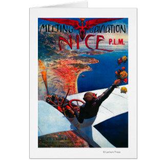 Sitzung D Luftfahrt in Nizza, Frankreich-Plakat Karte