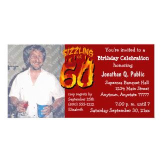 Sizzling bei ein 60 Geburtstags-Party-Foto laden Personalisierte Foto Karte