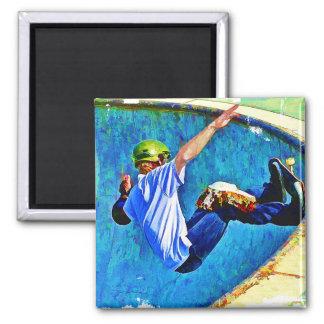 Skateboarding in der Schüssel Quadratischer Magnet