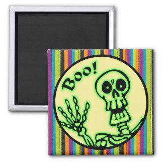 Skeleton Boo Halloween Quadratischer Magnet