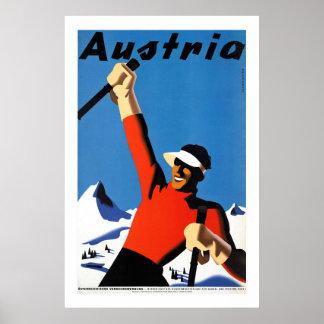 Ski fahren im Vintagen Reise-Plakat Österreichs Poster