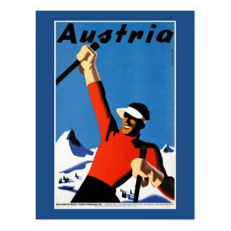 Ski fahren im Vintagen Reise-Plakat Österreichs Postkarte