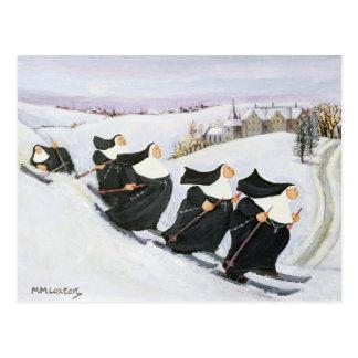 Ski fahren postkarte