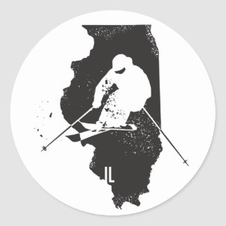 Ski Illinois Runder Aufkleber
