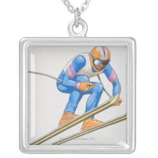 Skier-darstellender Sprung Versilberte Kette