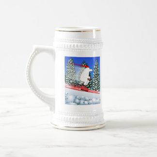 Skifahren-Eisbär Bierglas