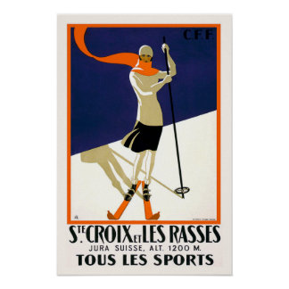 Skifahren St. Croix die Schweiz Poster