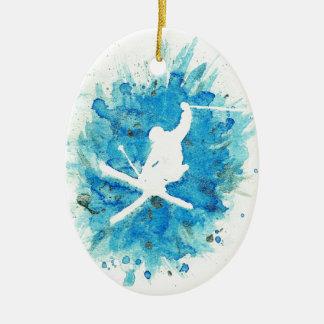 Skisprungsverzierung Keramik Ornament