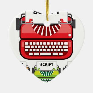 Skript-Schreibmaschine Keramik Herz-Ornament
