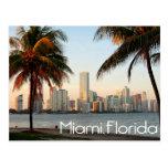 Skyline und Hafen Miamis Florida nachts USA Postkarten