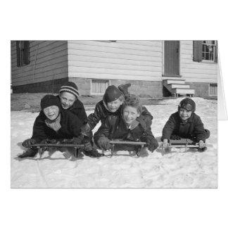 Sledding Jungen, 1936 Karte