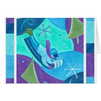 Sledding Mädchen in der blauen Winter-Schnee-Szene Karte