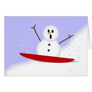 Sledding Schneemann-Weihnachtskarte Karte