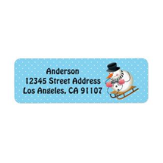 Sledding Snowman-Rücksendeadressen-Aufkleber