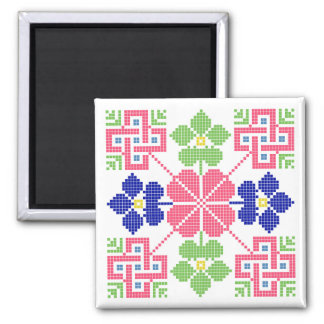 Slowakeivolksmotiv-Symbol traditionelles Quadratischer Magnet