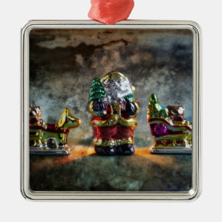 Small German Santa Claus figure Quadratisches Silberfarbenes Ornament