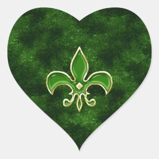 Smaragdgrün-Lilien-Herz-Aufkleber-Blätter Herz Sticker
