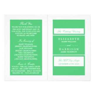 Smaragdgrün-modernes Hochzeit Bi-Falte Programm Flyer