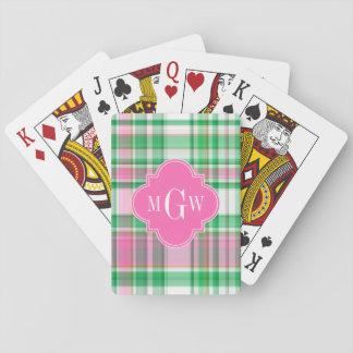 Smaragdgrün-Pink-weißes adrettes Madras-Monogramm Spielkarten