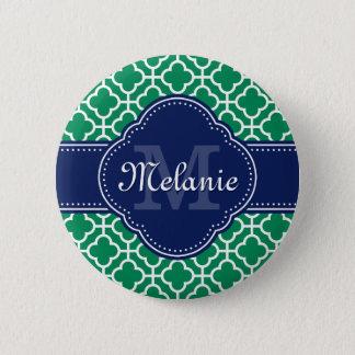 Smaragdgrün-weißes marokkanisches runder button 5,7 cm