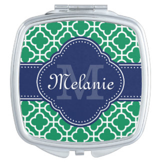 Smaragdgrün-weißes marokkanisches taschenspiegel