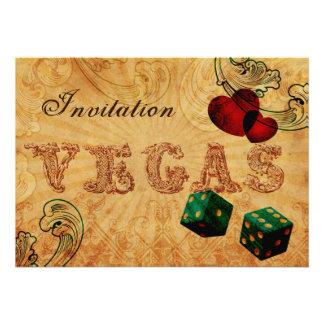 Smaragdgrün-Würfel lädt Vintage Vegas-Hochzeit ein Individuelle Ankündigskarten