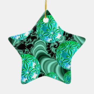 Smaragdsatin-Träume - abstraktes irisches Keramik Stern-Ornament