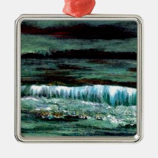 Smaragdseeozean-Wellen-Meerblick-Strand-Dekor Quadratisches Silberfarbenes Ornament