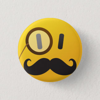 Smiley mit dem Schnurrbart Runder Button 3,2 Cm
