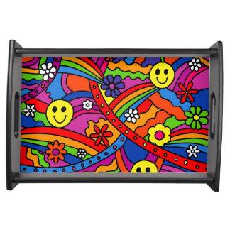 Smiley-Regenbogenund Blumehippy-Muster Tablett