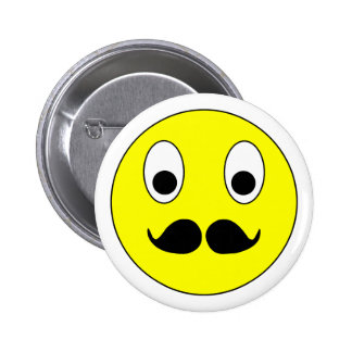 Smilie Schnurrbart smiley moustache mustache Runder Button 5,1 Cm