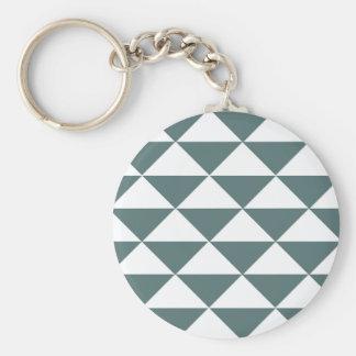 Smokey grüne und weiße Dreiecke Standard Runder Schlüsselanhänger