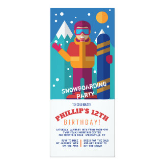 Snowboard-Kindereinladung Karte