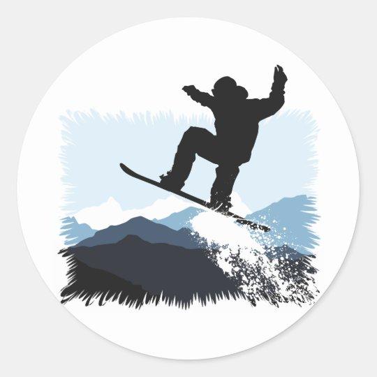 Snowboarder Action Jump Runder Aufkleber