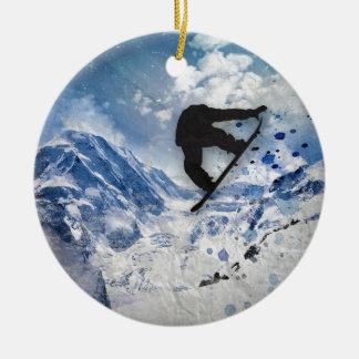 Snowboarder im Flug Keramik Ornament