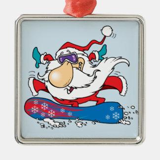 Snowboarding Weihnachtsmann Quadratisches Silberfarbenes Ornament