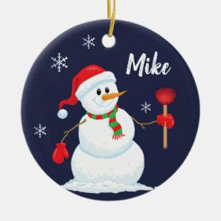 Snowman-Klempner-Verzierung personalisiert Keramik Ornament