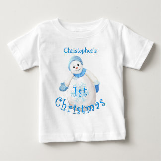 Snowman-Shirt des Babys 1. Weihnachts Baby T-shirt