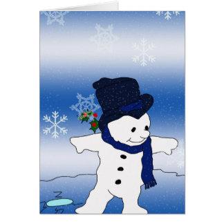Snowman-Skaten Grußkarte