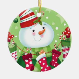Snowman und Strumpf-Verzierung Rundes Keramik Ornament