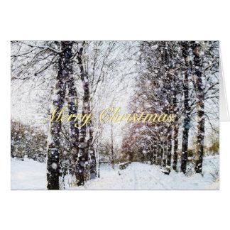Snowy-Baum-Weg-Feiertags-Landschaftsfrohe Grußkarte