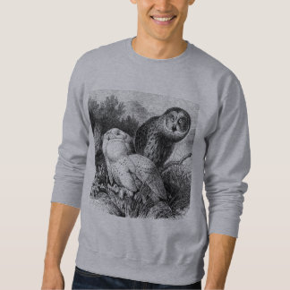Snowy - gehörnte Eulen-Vintager hölzerner Stich Sweatshirt